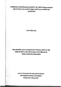 Inhibition of BioFilm Development by Using Solanum melangena Fruit